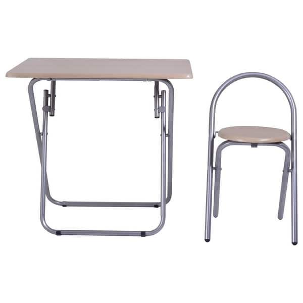 Costway Kids Study Writing Desk Table Chair Set Folding