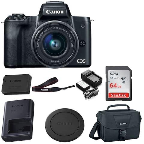Canon EOS M50 15-45mm Mirrorless Digital Camera (Black) w/ 64GB Bundle