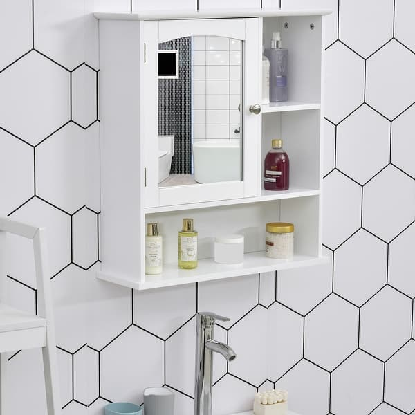 Kleankin Wall Mounted Bathroom Storage Cabinet Organizer With Mirror Adjustable Shelf And Magnetic Door Design White Overstock 32485623