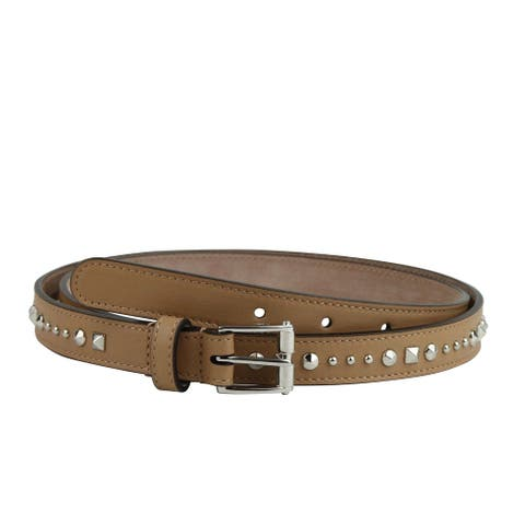 Gucci Women's Studded Silver Buckle Caramel Brown Leather Belt 380561 2754
