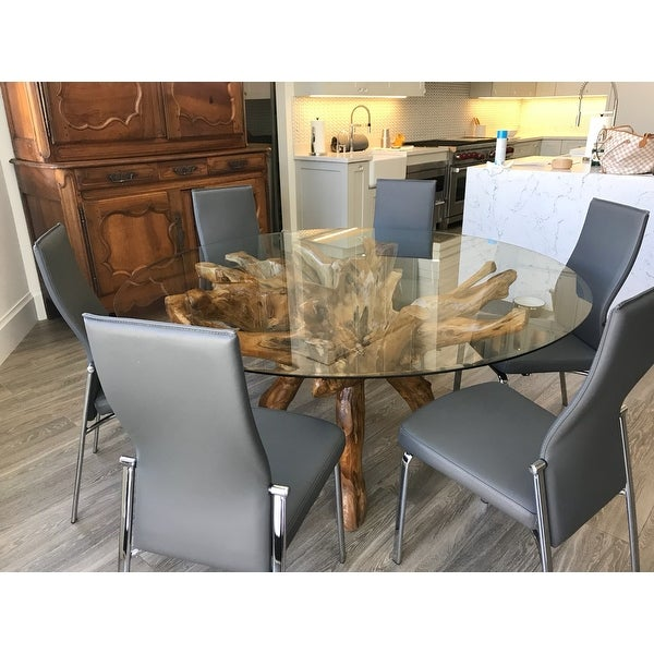 Chic Teak Rustic Teak Wood Root Dining Table Including 55 Inch Round Glass Top. Opens flyout.