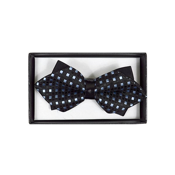 Men's Black And Blue Checkered Diamond Tip Bow Tie - DBB3030-8