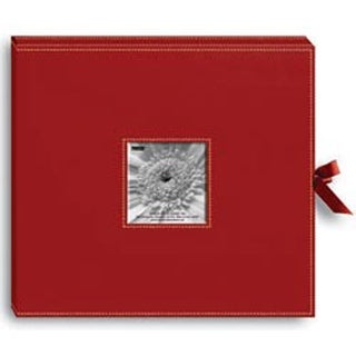 """Red - Sewn Leatherette D-Ring Scrapbook Box 13""""X14.5"""""""