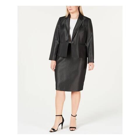 LE SUIT Black Below The Knee Pencil Skirt Suit Size 20W
