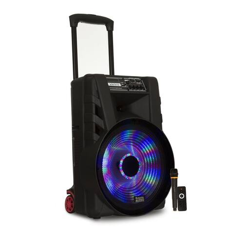 """Acoustic Audio Battery Powered 15"""" Bluetooth Party Speaker with Lights and Mic"""