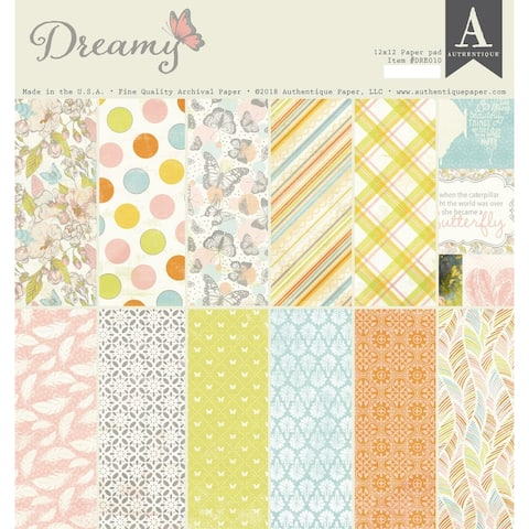 "Authentique Double-Sided Cardstock Pad 12""X12"" 18/Pkg-Dreamy, 6 Designs/3 Each - Medium"