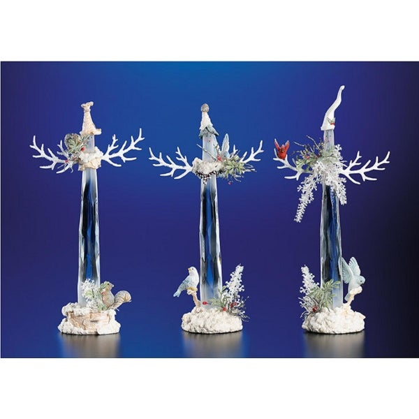Pack of 3 Icy Crystal Illuminated Christmas Pencil Snowmen Figurines 11""