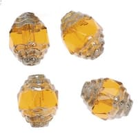 Czech Cathedral 10mm Art Deco Beads Topaz Silver Ends (10)