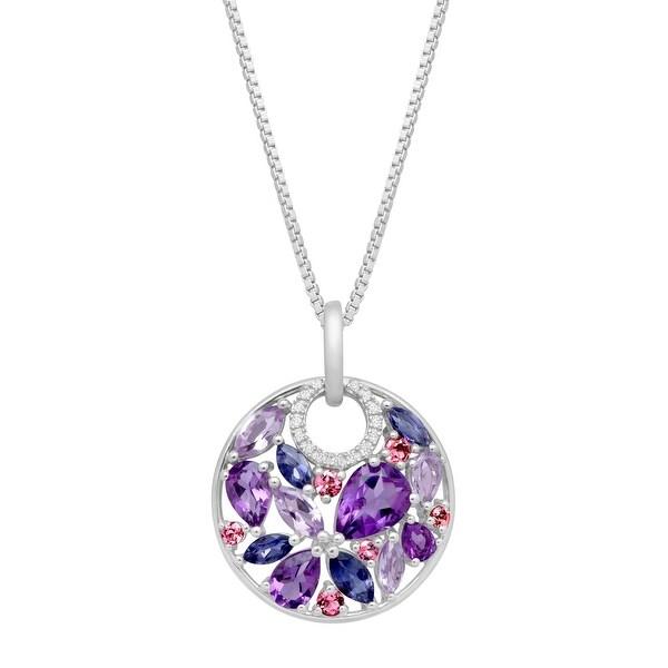 3 1/2 ct Natural Multi-Stone Pendant with Diamonds in Sterling Silver - Purple