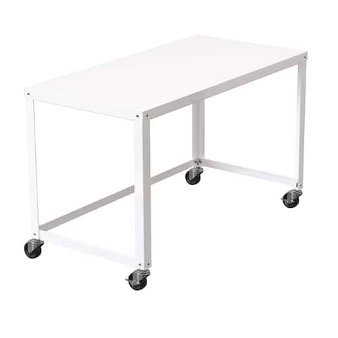 Porch & Den Rockridge White 48-inch Mobile Desk Rolling Cart