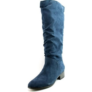Madden Girl Persiss Women  Round Toe Canvas Blue Knee High Boot
