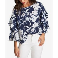 1.STATE Navy Blue Women's Size XS Tiered-Sleeve Floral Blouse