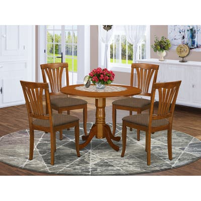 5-piece Dining Set - Round Table and 4 Linen Fabric Kitchen Chairs in Saddle Brown Finish (Pieces Option)