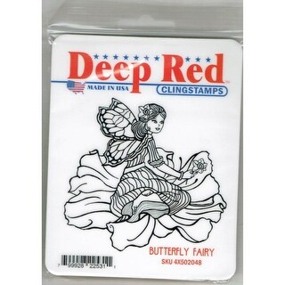 Deep Red Stamps Butterfly Fairy Rubber Cling Stamp - 3.25 x 3.25