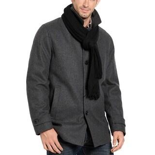Calvin Klein Mens Grey Wool Blend Coat Medium M 50 with Scarf