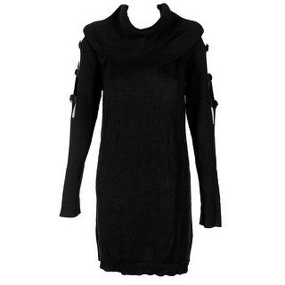 Inc International Concepts Deep Black Grommet Cowl Neck Tunic Sweater S