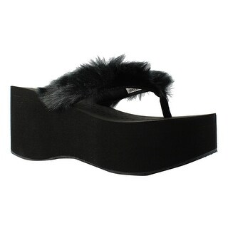 Volatile Womens Furball Black Sandals Size 7