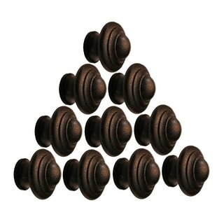 10 Wrought Iron Cabinet Knobs Black Round