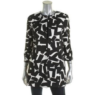 Kasper Womens Petites Open-Front Blazer Printed Twill