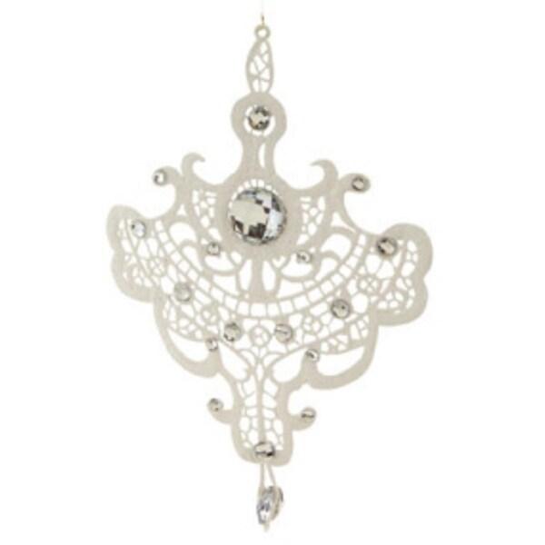 "9.5"" Elegant Jeweled White Lace Doily Style Christmas Ornament"