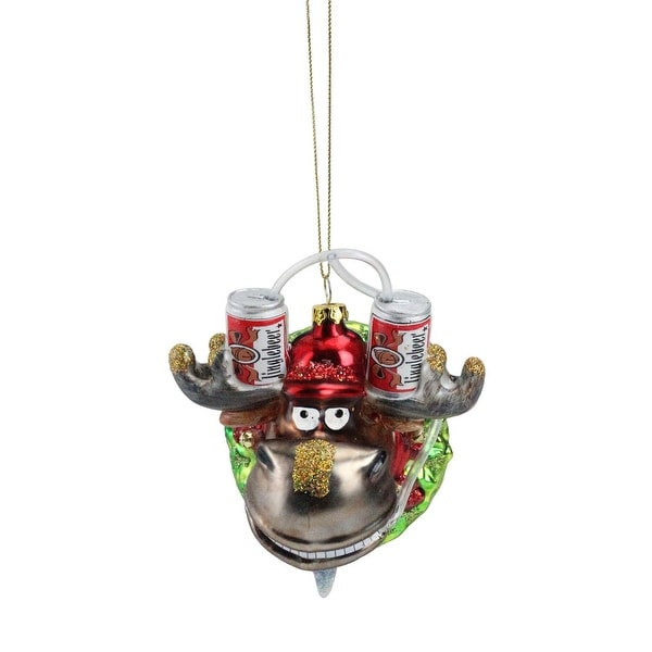 "4.5"" Moose in Wreath with Beer Drinking Helmet Glass Christmas Ornament"