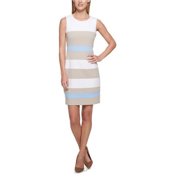 a35dbd92 Shop Tommy Hilfiger Striped Scuba Sheath Dress, Multi, 14 - Free Shipping  On Orders Over $45 - Overstock - 21491953
