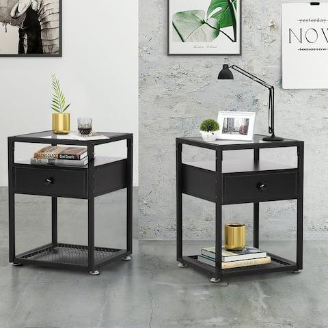 Taomika Set of 2 Square Modern Nightstands