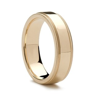 14k Yellow Gold Wedding Band Flat Polished Milgrain Edges 8mm