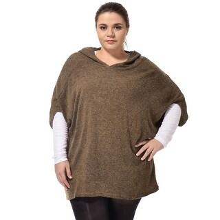 Allegra K Women's Plus Size Dolman Sleeves Knitted Hoodie - Coffee