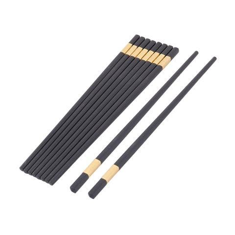 Wood Dishes Chopsticks Black 5 Pairs