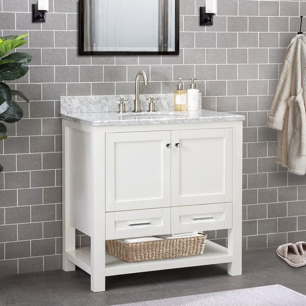 Sunjoy White 36 In Shaker Style Single Sink Bathroom Vanity Overstock 30599314