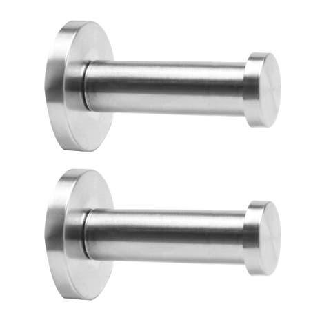 "2pcs Wall Hooks Stainless Steel 75mm Hook Coat Key DIY Hanger w Screws - Silver Tone - 1.6""x0.9""x 3""(Bottom D* Top D*H)"