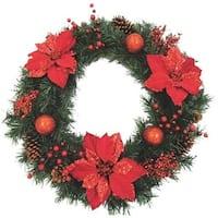 "Gerson/Yantian 30"" Pine Pntsetta Wreath 2314610 Unit: EACH"