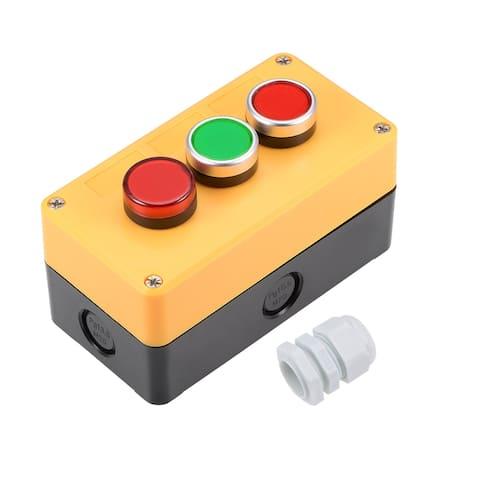 Push Button Switch Station Momentary 2NC 2NO - Amarillo-Negro (LED + Verde + Rojo)