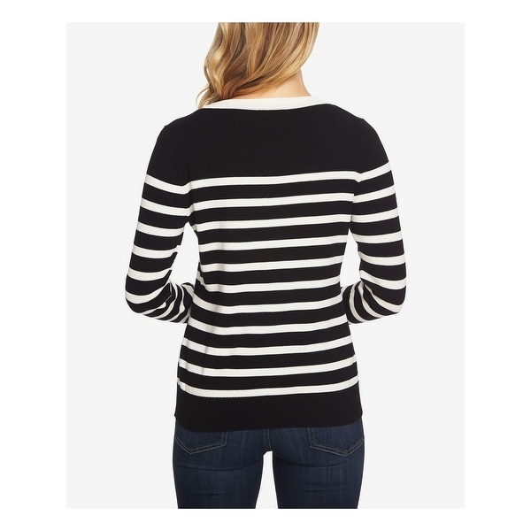 CeCe Womens Long Sleeve Jersey Striped Pullover Sweater