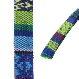 Multi-Colored Cotton Cord, Flat Woven Strands 10x2mm, 3 Feet, Blue / Green Mix