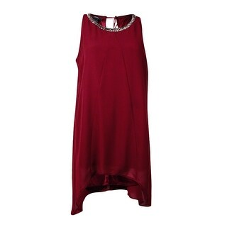 Alfani Women's Handkerchief Hem Beaded Halter Tunic Top - new burgundy - 8