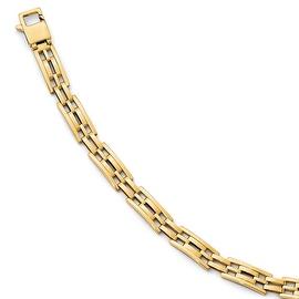 Italian 14k Gold Polished Men's Link Bracelet - 8 inches