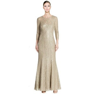 Kay Unger Three Quarter Sleeve Stretch Lace Evening Gown Dress