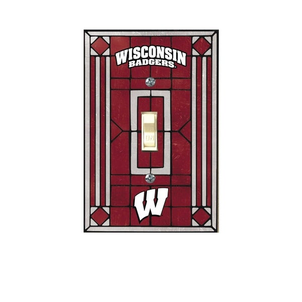 Shop Wisconsin Badgers Art Glass Light Switch Cover Free Shipping