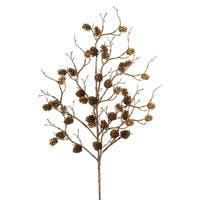 """Club Pack of 12 Brown and Gold Glittering Finish Artificial Christmas Mini Pine Cone Sprays 24"""""""