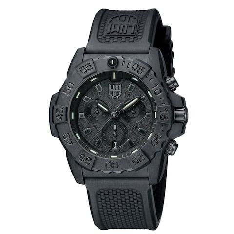 Luminox Men's 3581.BO Navy Seal Black-Out Chrono Black Rubber Strap Watch