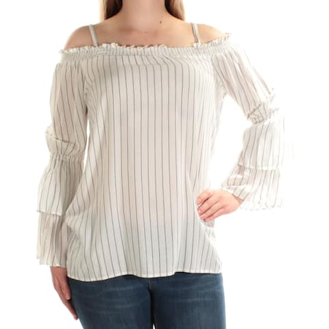 CALVIN KLEIN Womens Ivory Cold Shoulder Removable Straps Striped Long Sleeve Square Neck Top Size: M