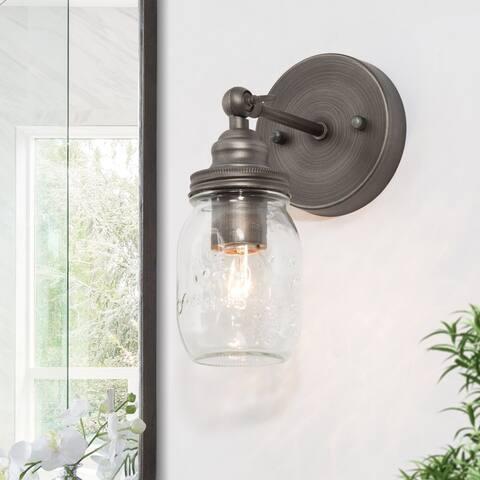 "Modern Mini 1-Light Mason jar Wall Sconce Bubble Glass Vanity Light - D5.1"" * W6.3 * H9.4"""