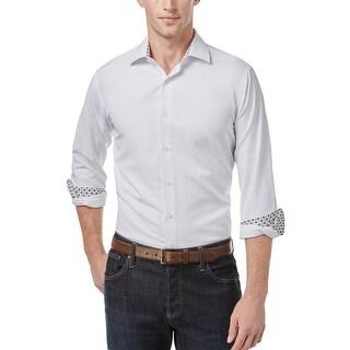 Tallia Orange Slim Fit Tonal Textured Paisley Dress Shirt White X-Large XL 17.5