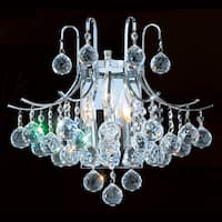 "Worldwide Lighting W23016C16 Empire 3 Light 16"" Wall Sconce in Chrome with Clear Crystals"