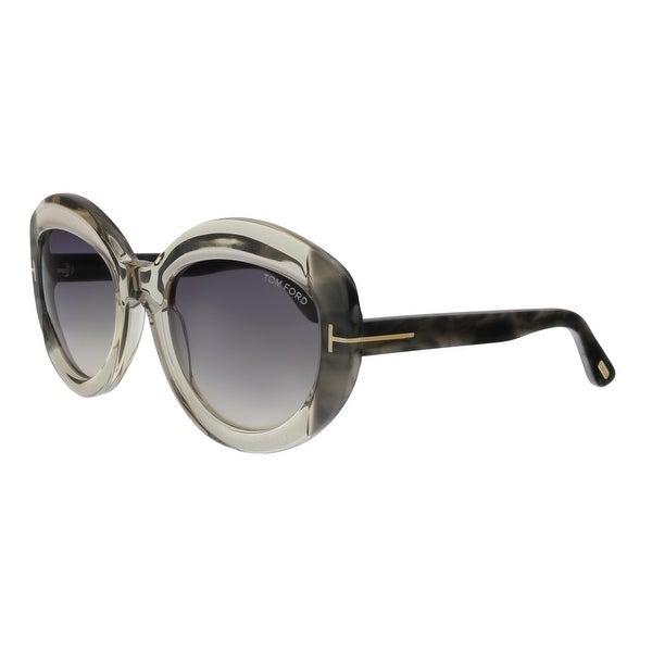 37771acfba6fc Shop Tom Ford FT0581 59B Bianca-02 Beige Grey Round Sunglasses - No ...