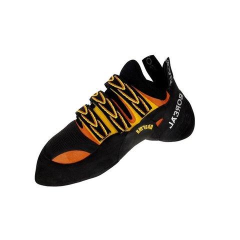 Boreal Climbing Shoes Mens Dharma Leather Black Yellow Orange