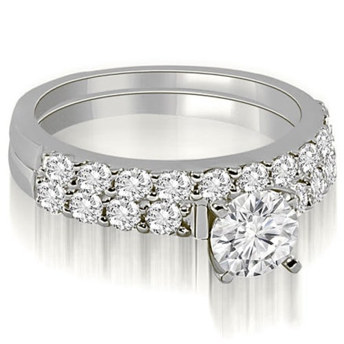 1.45 cttw. 14K White Gold Round Cut Diamond Bridal Set