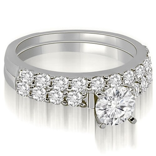 1.70 cttw. 14K White Gold Round Cut Diamond Bridal Set